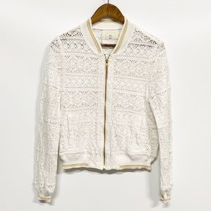 Anthropologie Hei Hei Cleo Lace Bomber Jacket